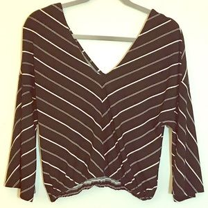 ✨NWT✨Express Black and White Striped Blouse